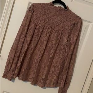 Dusty Rose Lace Top